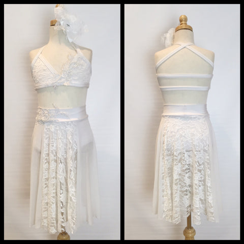 Gorgeous Custom Made White Lace Dance Costume