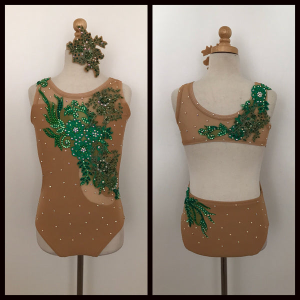 Nude Leotard Costume with green appliqués
