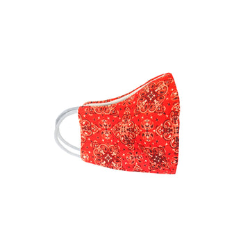 Youth Orange Paisley Face Mask