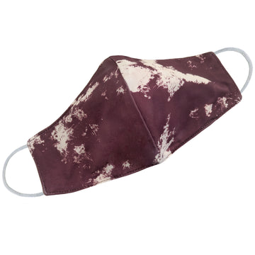Burgundy White Tie Dye Face Mask