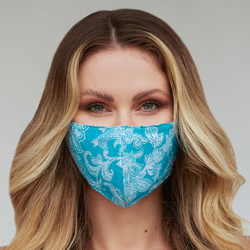 Turquoise Paisley Floral Face Mask