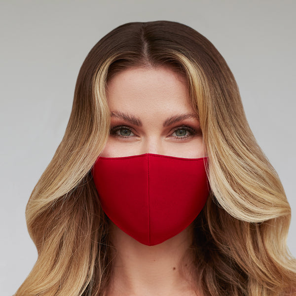 Solid Deep Red Face Mask