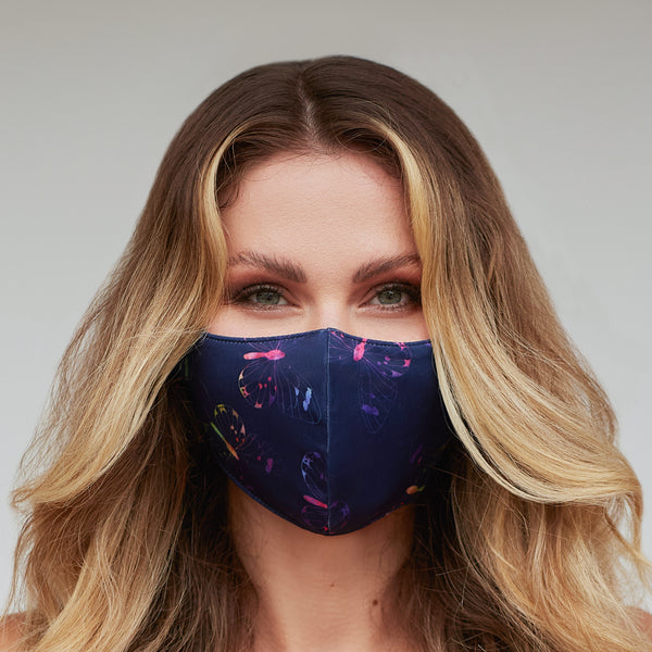 Purple Multi-Color Butterfly Face Mask