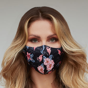 Black Flamingo Face Mask