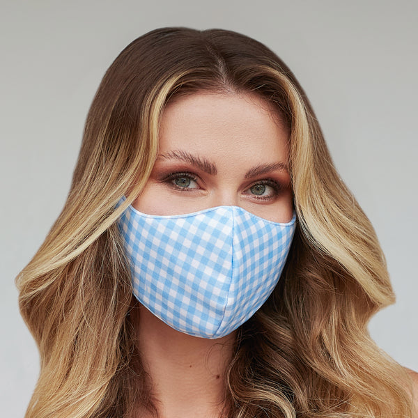 Light Blue Gingham Face Mask