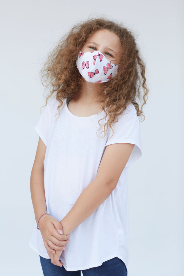Youth Pink Butterfly Face Mask