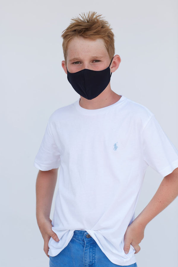 Youth Solid Black Face Mask