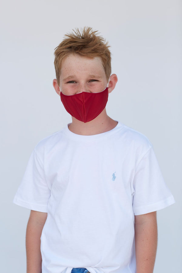 Youth Solid Deep Red Face Mask