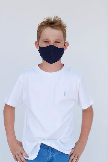 Youth Solid Dark Navy Face Mask