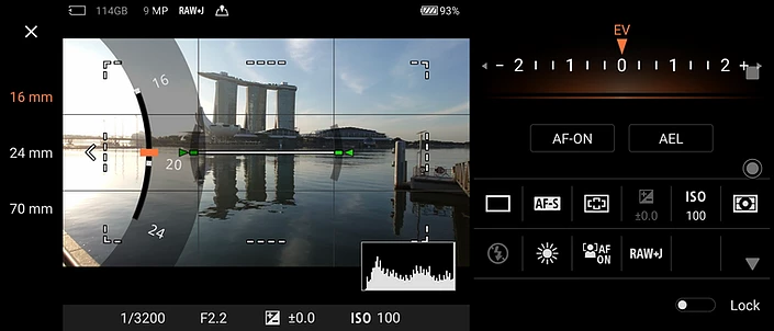 Xperia 1 II's Photo Pro App with 3 different focal lengths
