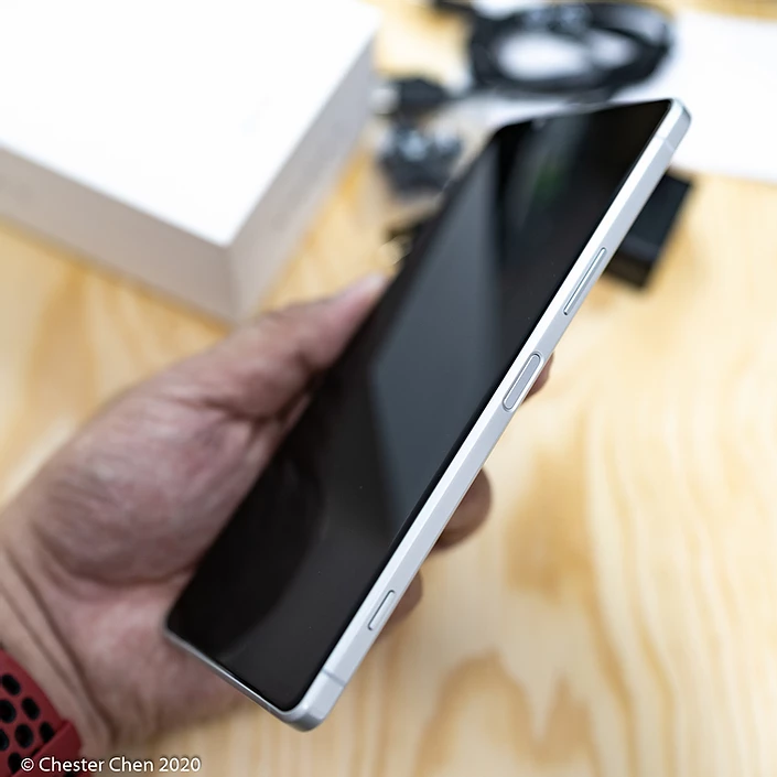 Xperia 1 II's sleek design with all the important buttons are on the righthand side