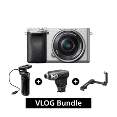 A6400 E-mount Camera with APS-C Sensor (Body with SELP1650 Lens) + ECM-XYST1M + GP-VPT1 + VCL-55LH Bundle