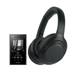 WH-1000XM4 Wireless Noise-Cancelling Headphones + NW-A105 (Black) Bundle