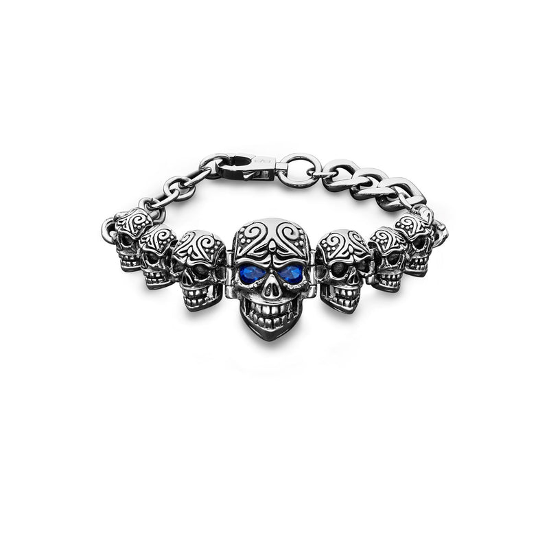 SKULLY STEEL BRACELET SILVER & BLUE