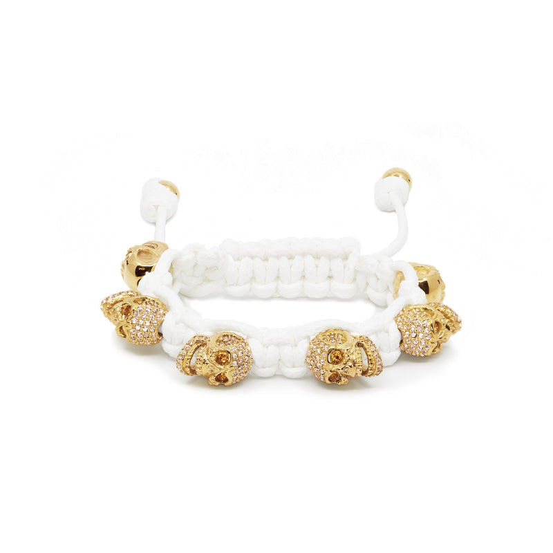 SKULLY BRACELET - 4N GOLD PVD SKULLS, GOLDEN SHADOW EYES