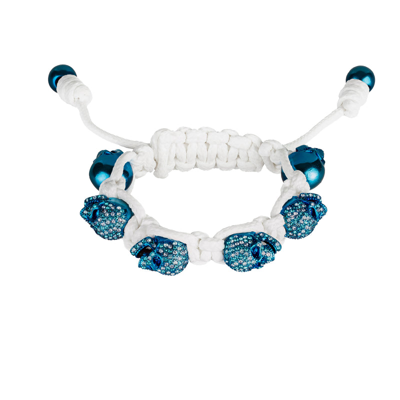 SKULLY BRACELET - BLUE SKULLS,  BLUE EYES