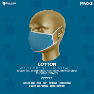 LIGHT BLUE  FACE MASK(cotton) 3 packs