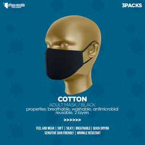 BLACK  FACE MASK (cotton) 3packs
