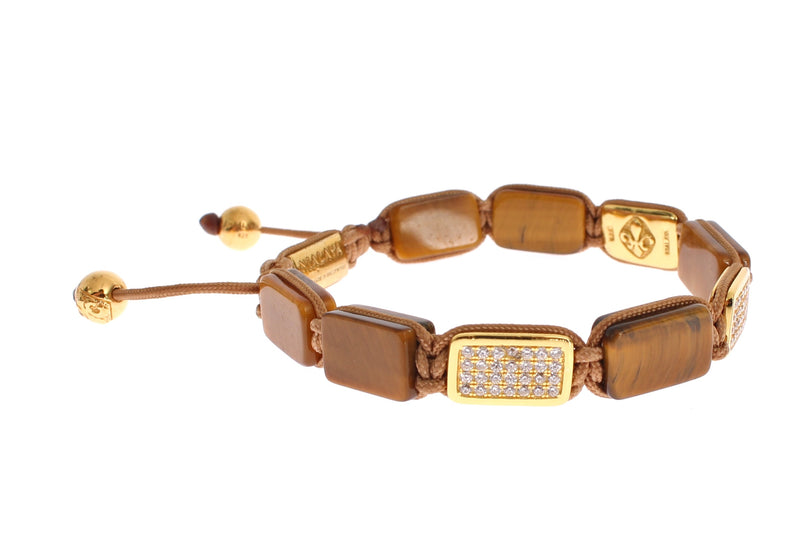 CZ Tiger Eye Gold 925 Bracelet
