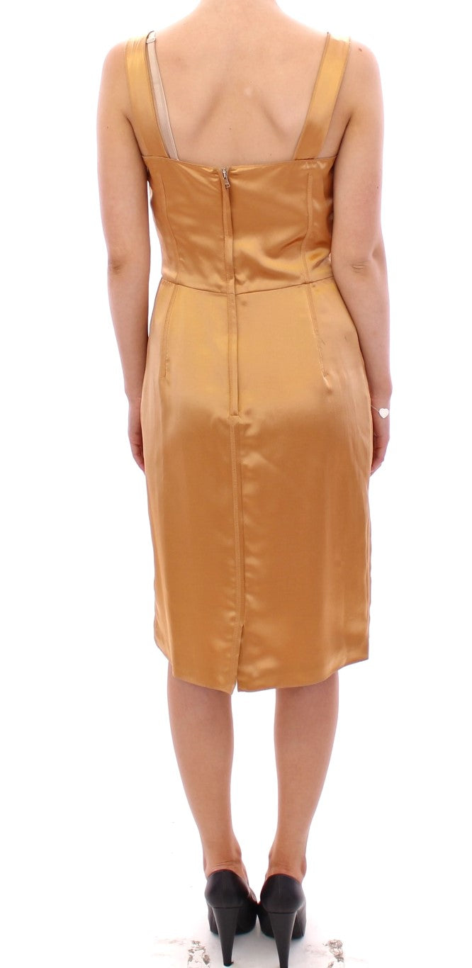 Bronze silk sheath dress
