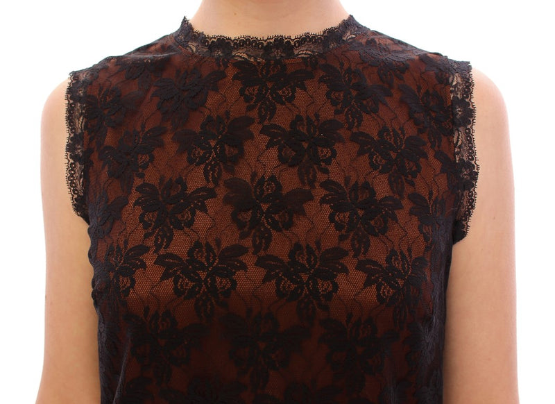 Orange floral lace shift dress