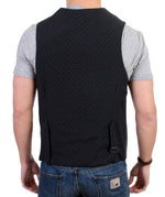 Gray striped cotton casual vest