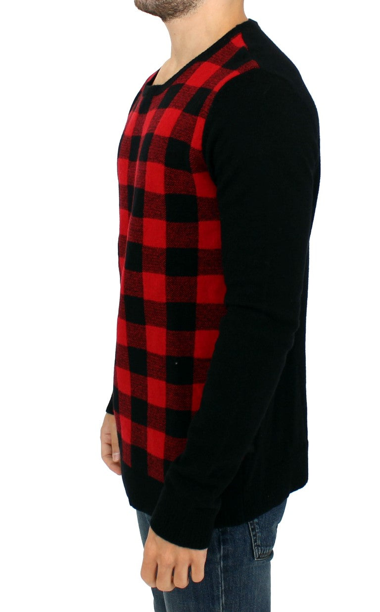 Red black checkered sweater