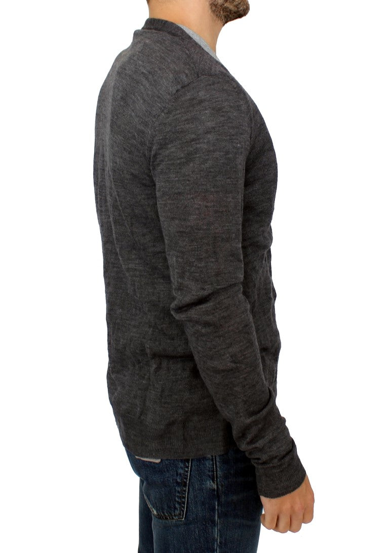 Gray full button wool cardigan