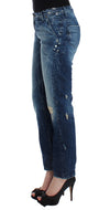 Blue distressed boyfriend jeans