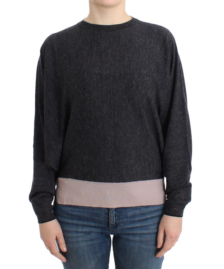 Gray knitted batwing sweater