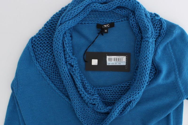 Blue knitted scoopneck sweater