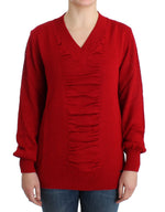 Red V-neck wool sweater