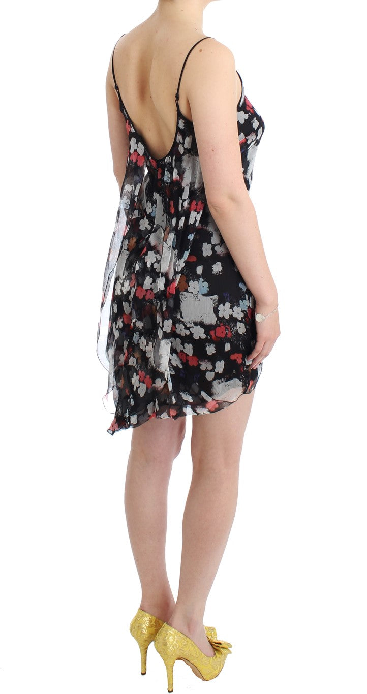 Floral silk mini dress