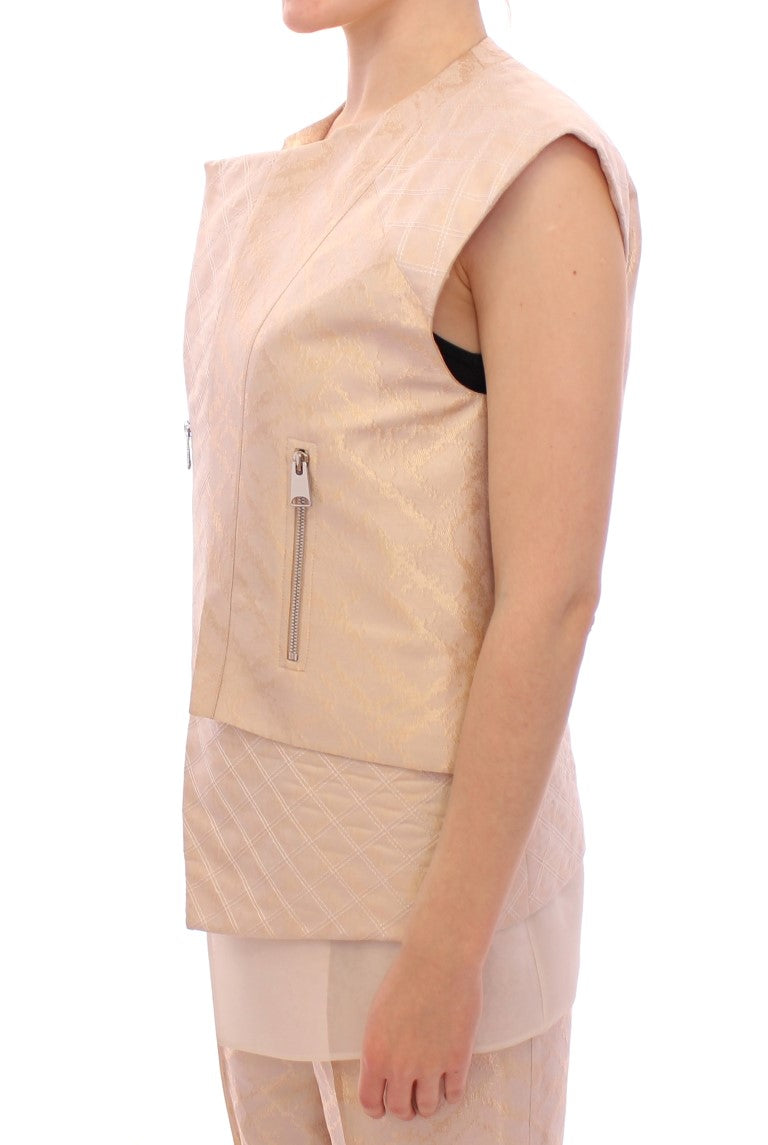 Beige brocade sleeveless jacket