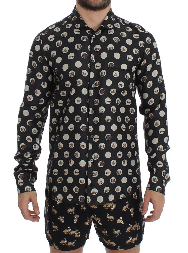 Black Print SILK Pajama Shirt Sleepwear