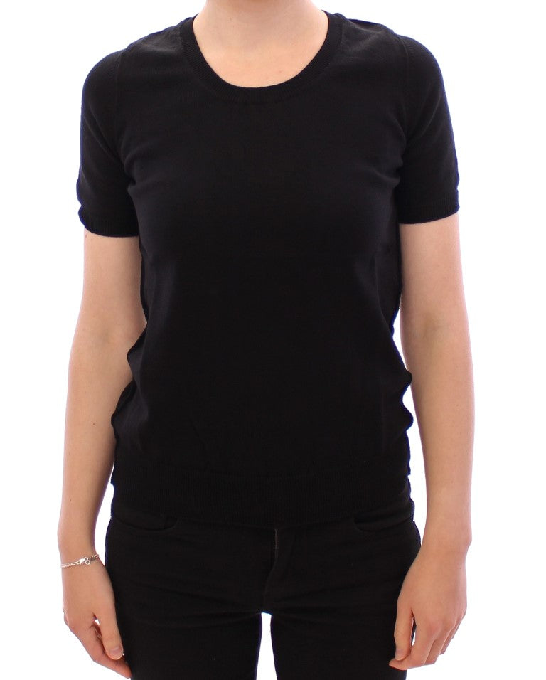 Black crewneck cotton t-shirt