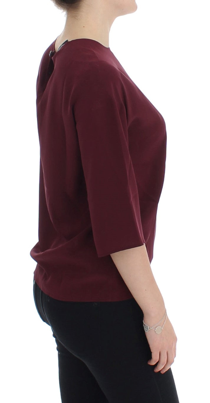 Red 3/4 sleeve silk blouse