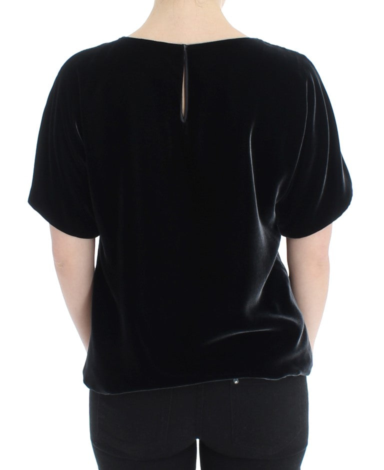 Black velvet shortsleeved blouse