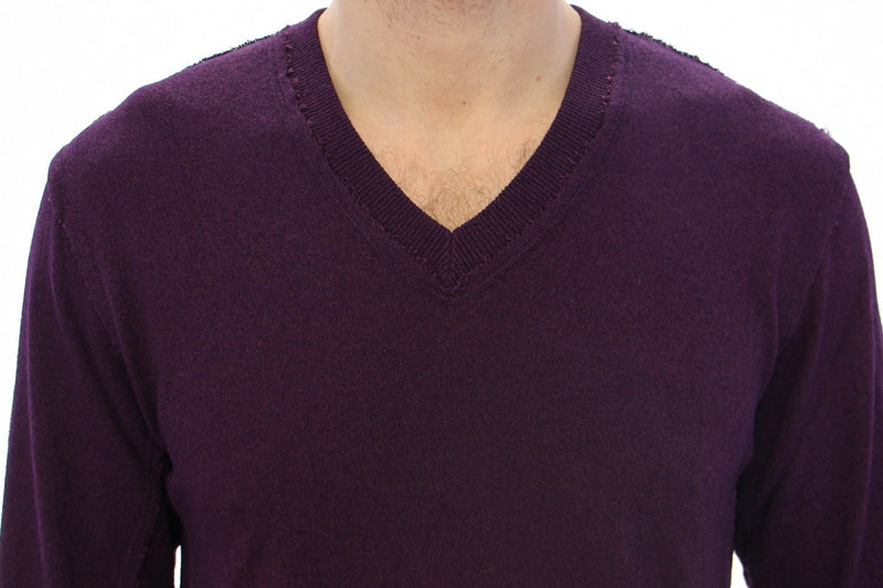 Purple Rayon Logo Logo V-neck Sweater