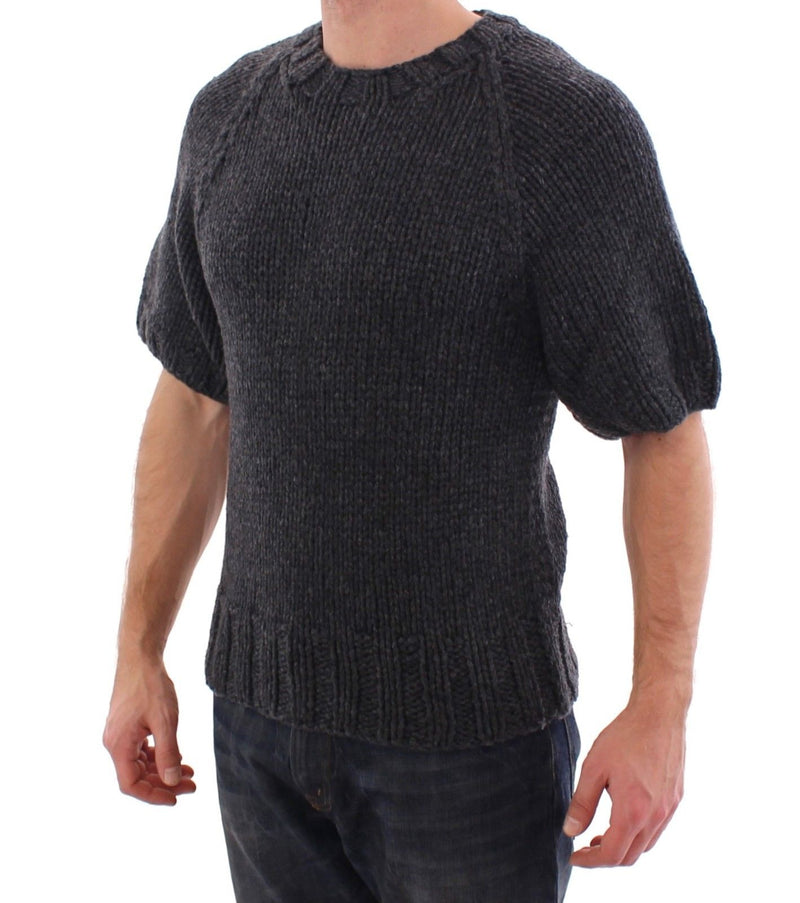 Gray Cashmere Knitted Shortsleeved Sweater