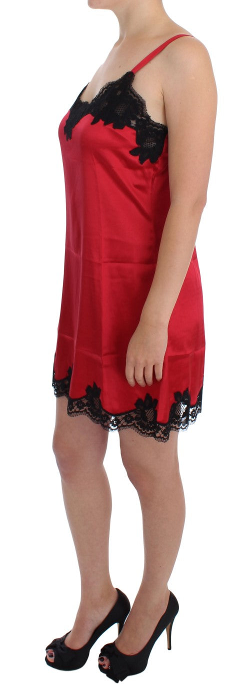 Red Black Silk Lace Dress Lingerie