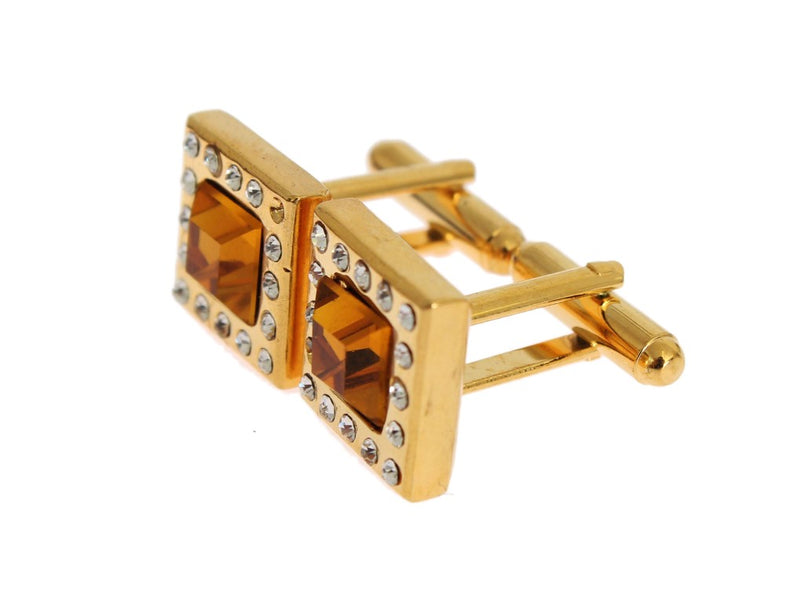 Clear Orange Crystal Gold Brass Cufflinks