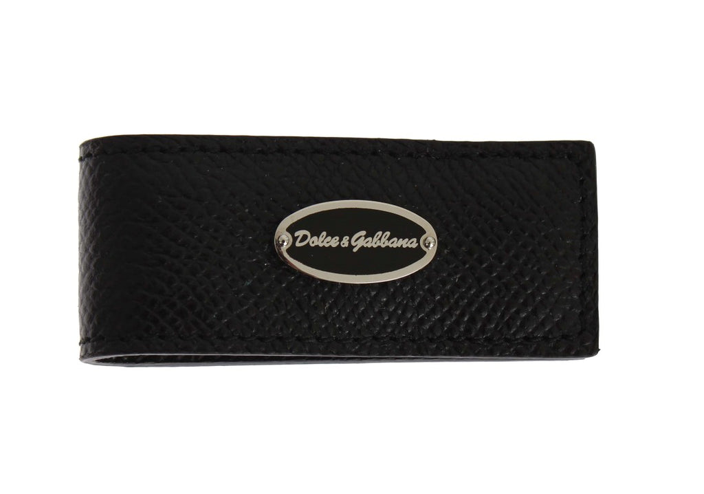 Black Leather Magnet Money Clip