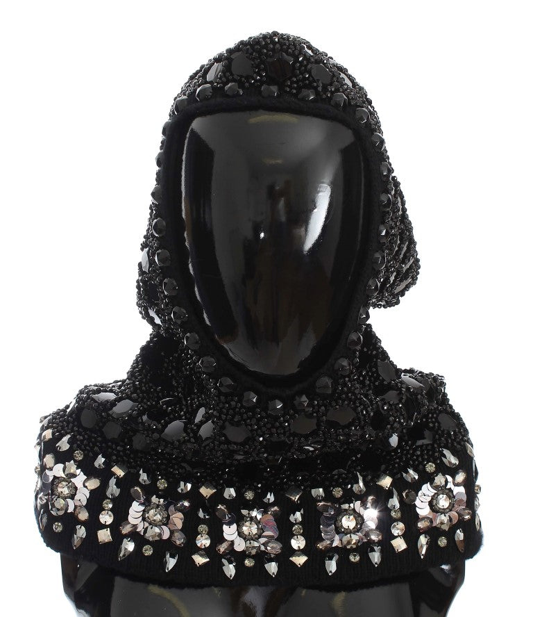 Black Crystal Sequin Hood Scarf Hat
