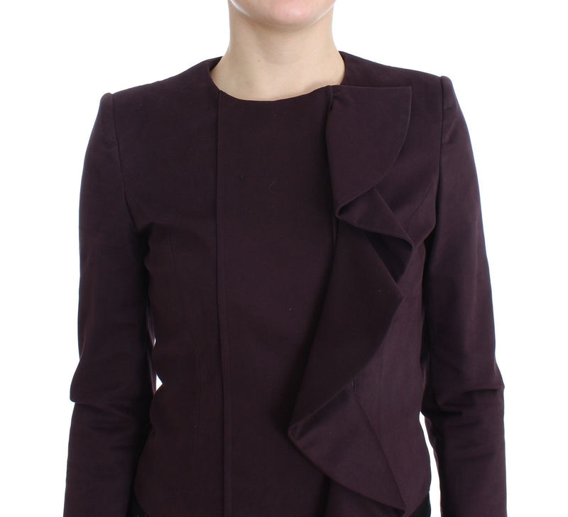 Purple Ruched Jacket Coat Blazer Short