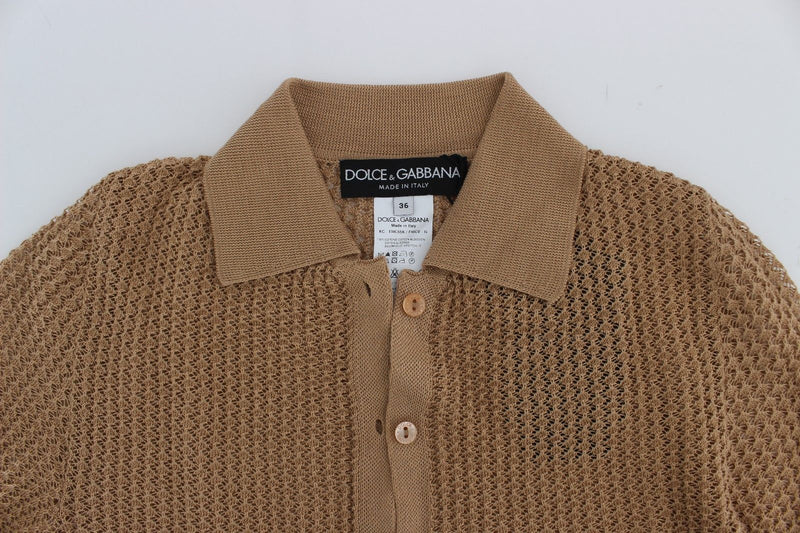 Beige Knitted Cotton Polo Cardigan Sweater