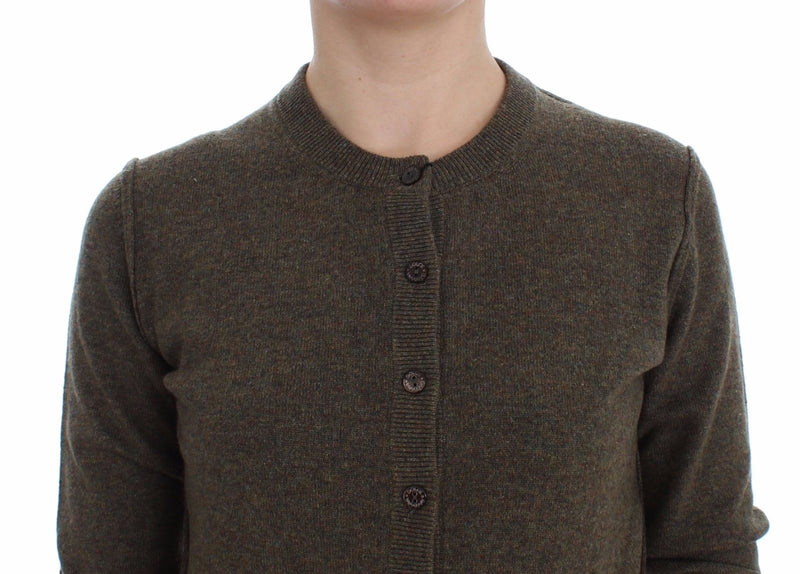 Brown Cashmere Button Cardigan Sweater