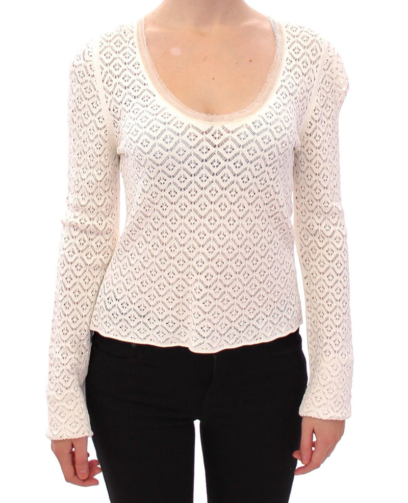 White Lace Crochet Knitted Sweater Top