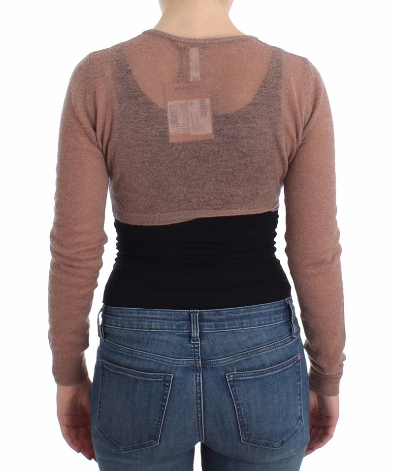 Lingerie Brown Knit Cropped Sweater Cardigan