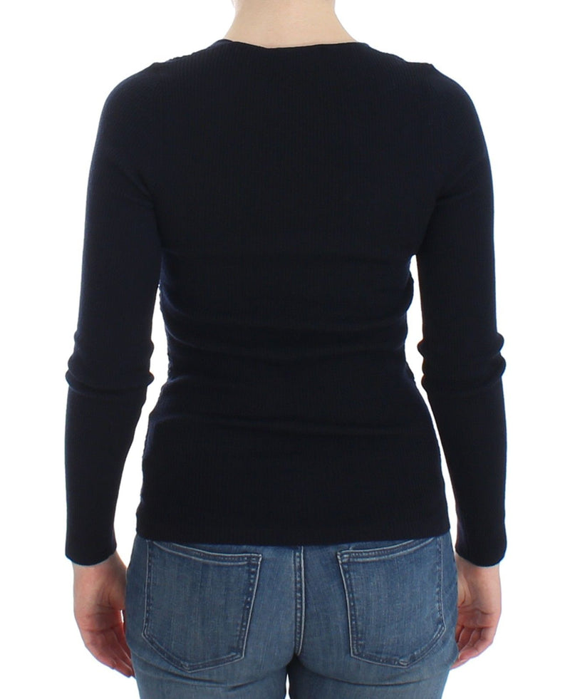 Blue Knitted Wool Stretch Sweater Top